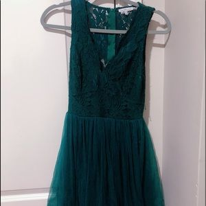 Beautiful tulle and lace forest Green Party dress